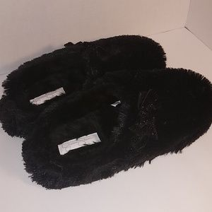 Jessica Simpson Black Fir Slippers w/ Sparkle Bow